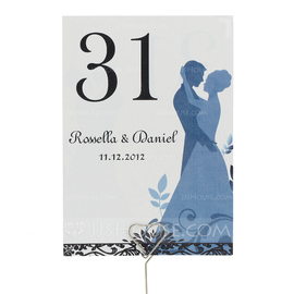 Personalized Bride And Groom Pearl Paper Table Number Cards (Set of 10) (118032272)