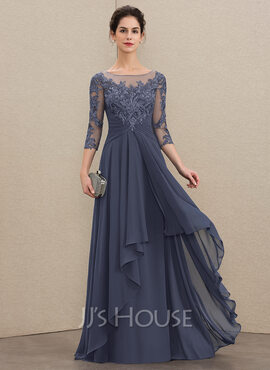 A-Line Scoop Neck Floor-Length Chiffon Lace Mother of the Bride Dress With Cascading Ruffles (008179222)