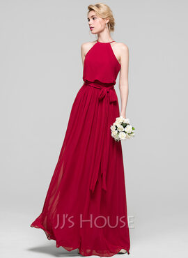 A-Line/Princess Scoop Neck Floor-Length Chiffon Prom Dresses With Bow(s) (018103290)