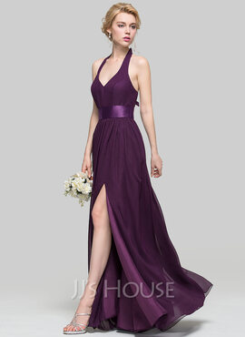 A-Line/Princess V-neck Floor-Length Chiffon Bridesmaid Dress With Ruffle Bow(s) Split Front (266177014)