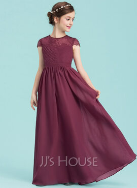 A-Line Scoop Neck Floor-Length Chiffon Junior Bridesmaid Dress With Ruffle Lace (009149002)