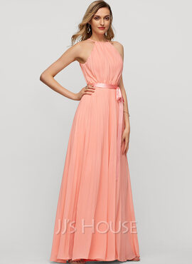 A-Line/Princess Scoop Neck Floor-Length Chiffon Evening Dress With Bow(s) Pleated (017116334)