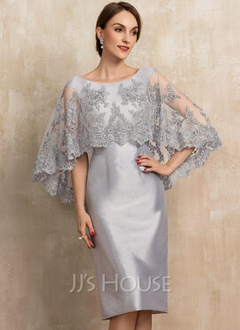 Sheath/Column Scoop Neck Knee-Length Taffeta Lace Mother of the Bride Dress With Beading Sequins (008217317)