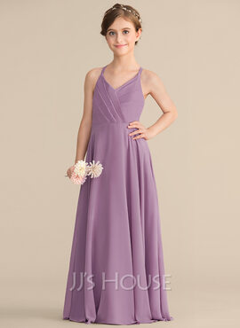 A-Line V-neck Floor-Length Chiffon Junior Bridesmaid Dress With Cascading Ruffles (009165028)