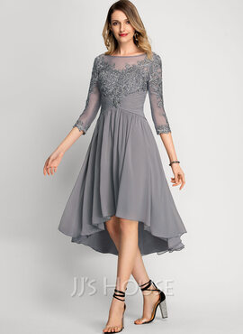 A-Line Scoop Neck Asymmetrical Chiffon Cocktail Dress (016212871)