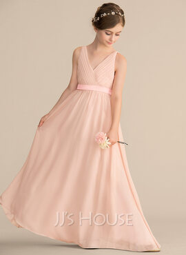 A-Line V-neck Floor-Length Chiffon Junior Bridesmaid Dress With Ruffle Bow(s) (009165038)