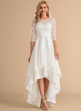 A-Line Scoop Neck Asymmetrical Satin Lace Wedding Dress (002215653)