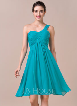 Empire One-Shoulder Knee-Length Chiffon Bridesmaid Dress With Ruffle (007057723)