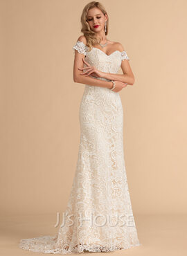Trumpet/Mermaid Off-the-Shoulder Sweep Train Satin Lace Wedding Dress (002215647)