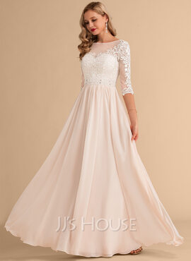A-Line Illusion Floor-Length Chiffon Lace Wedding Dress With Beading Sequins (002215643)