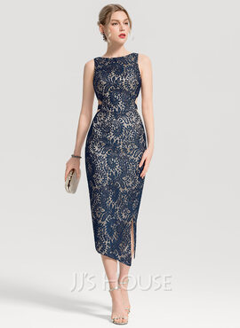 Sheath/Column Scoop Neck Tea-Length Lace Cocktail Dress With Split Front (016155119)