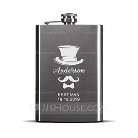 Groomsmen Gifts - Personalized Modern Stainless Steel Flask (258176299)
