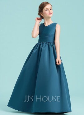 Ball-Gown/Princess V-neck Floor-Length Satin Junior Bridesmaid Dress With Ruffle (009148423)