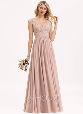 A-Line V-neck Floor-Length Chiffon Lace Evening Dress (017221853)