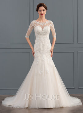 Trumpet/Mermaid Illusion Court Train Tulle Wedding Dress With Sequins (002134810)