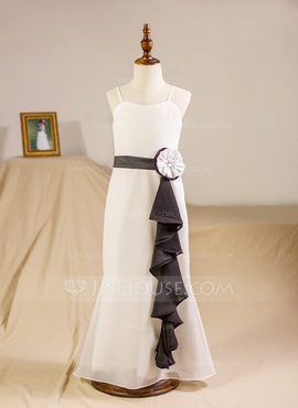 A-Line/Princess Floor-length Flower Girl Dress - Chiffon Sleeveless Straps With Sash/Beading/Flower(s) (010094157)