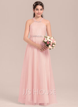 A-Line/Princess Square Neckline Floor-Length Tulle Junior Bridesmaid Dress With Ruffle Beading (268183954)