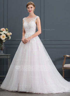 Ball-Gown/Princess Illusion Court Train Tulle Wedding Dress With Beading Sequins (002171950)