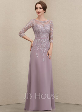 A-Line Scoop Neck Floor-Length Chiffon Lace Mother of the Bride Dress With Beading Sequins (008205185)