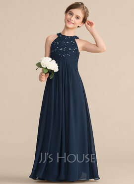 A-Line Scoop Neck Floor-Length Chiffon Lace Junior Bridesmaid Dress With Ruffle Beading (009165025)