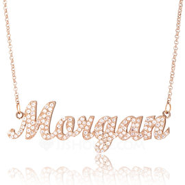 Custom 18k Rose Gold Plated Silver Name Necklace With Diamond - Valentines Gifts (288213027)