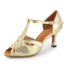 Women's Sparkling Glitter Patent Leather Heels Sandals Latin With T-Strap Dance Shoes (053021493)