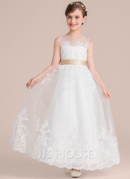 A-Line/Princess Floor-length Flower Girl Dress - Tulle/Lace Sleeveless Scoop Neck With Sash/Bow(s)