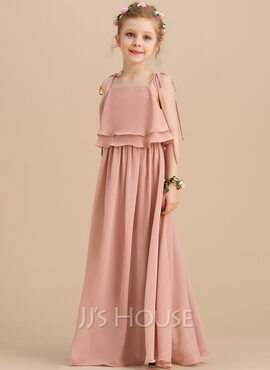 A-Line Floor-length Flower Girl Dress - Chiffon Sleeveless Square Neckline/Straps (010130869)