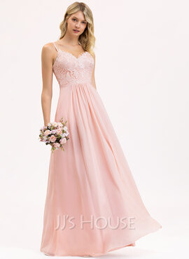 A-Line Sweetheart Floor-Length Chiffon Lace Bridesmaid Dress (007206452)
