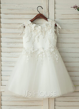 A-Line/Princess Knee-length Flower Girl Dress - Tulle/Lace Sleeveless With Appliques (010122559)