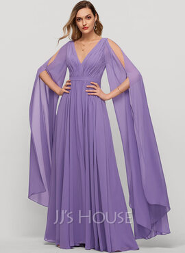 A-Line V-neck Floor-Length Chiffon Evening Dress With Ruffle (017209133)