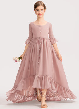 A-Line Scoop Neck Asymmetrical Chiffon Junior Bridesmaid Dress With Bow(s) Cascading Ruffles (009191718)