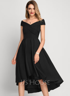 A-Line Off-the-Shoulder Asymmetrical Stretch Crepe Cocktail Dress (016212857)