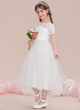 A-Line Scoop Neck Tea-Length Tulle Junior Bridesmaid Dress (009119600)
