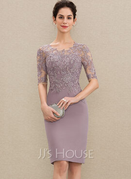 Sheath/Column Scoop Neck Knee-Length Chiffon Lace Mother of the Bride Dress (008179198)