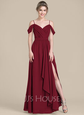 A-Line V-neck Floor-Length Chiffon Bridesmaid Dress With Bow(s) Split Front Cascading Ruffles (007104738)