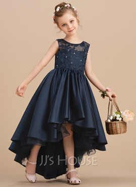 Ball-Gown/Princess Asymmetrical Flower Girl Dress - Satin Sleeveless Scoop Neck With Bow(s) (010206346)