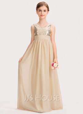 A-Line V-neck Floor-Length Chiffon Sequined Junior Bridesmaid Dress With Ruffle (009191713)