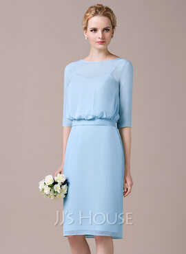 Sheath/Column Scoop Neck Knee-Length Chiffon Bridesmaid Dress (266195708)