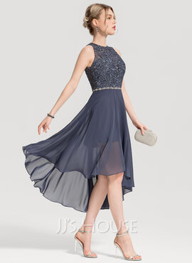 Scoop Neck Asymmetrical Chiffon Cocktail Dress With Beading (270188972)