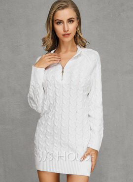 Pulls Tricot à Câble Gros tricot Couleur Unie Polyester Col V Pull-overs Robes pull Pulls (1002223055)