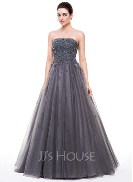 Ball-Gown Strapless Floor-Length Tulle Prom Dresses With Beading Appliques Lace Flower(s) Sequins (018056632)