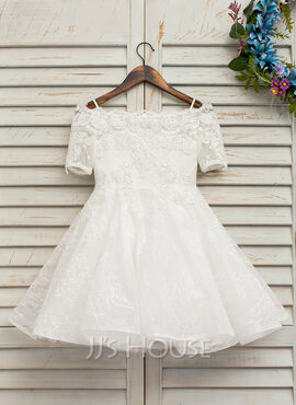 A-Line Knee-length Flower Girl Dress - Tulle/Lace Short Sleeves Off-the-Shoulder With Beading (010146202)