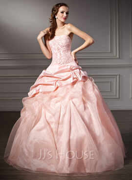 Ball-Gown Strapless Floor-Length Taffeta Organza Quinceanera Dress With Ruffle Lace Beading (021003109)