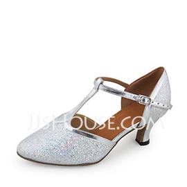 Women's Leatherette Sparkling Glitter Heels Pumps Ballroom With T-Strap Dance Shoes (053018533)