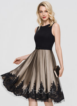 A-Line Scoop Neck Knee-Length Tulle Cocktail Dress With Beading Sequins (016197083)