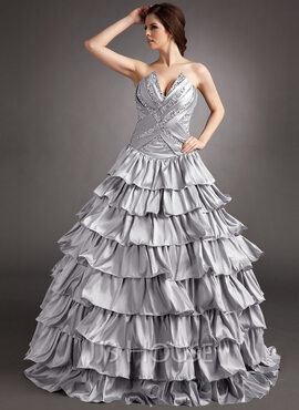 Ball-Gown Scalloped Neck Floor-Length Taffeta Quinceanera Dress With Beading Sequins Cascading Ruffles (021016400)