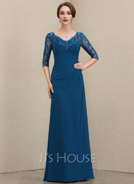 A-Line V-neck Floor-Length Chiffon Lace Mother of the Bride Dress With Ruffle Sequins (008204912)
