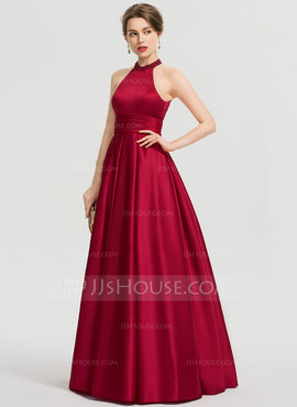 Ball-Gown/Princess Scoop Neck Floor-Length Satin Prom Dresses With Ruffle Beading Sequins (018192378)