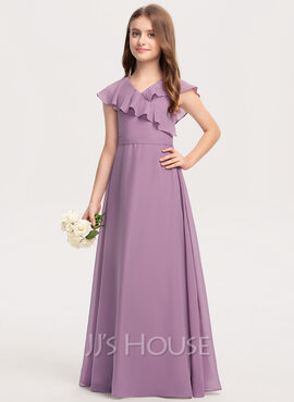 A-Line V-neck Floor-Length Chiffon Junior Bridesmaid Dress With Bow(s) Cascading Ruffles (009208590)
